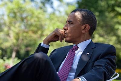 President Barack Obama Is Briefed Art Print by Everett