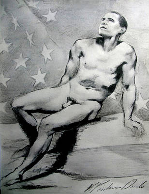 Drawing - President Barack Obama Nude Study by Karine Percheron-Daniels