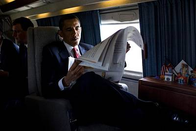 President Barack Obama Reading Art Print by Everett