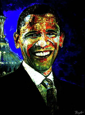 Barack Obama Oil Painting - President Barack Obama by Rom Galicia