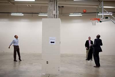 President Barack Obama Shoots Baskets Art Print by Everett