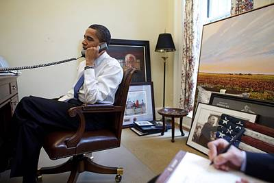 President Barack Obama Takes A Phone Art Print by Everett