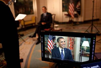President Barack Obama Tapes The Weekly Art Print by Everett