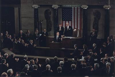 President Bush Addresses A Joint Art Print by Everett