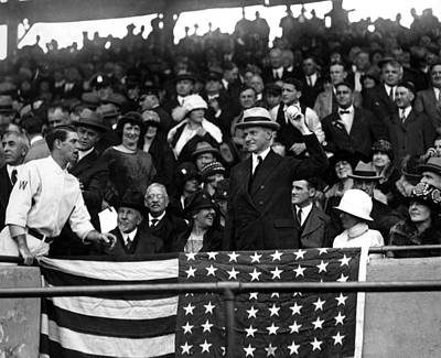 Washington Dc Baseball Photograph - President Calvin Coolidge Pitches by Everett