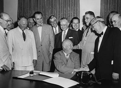 President Eisenhower Signs A Bill Print by Everett