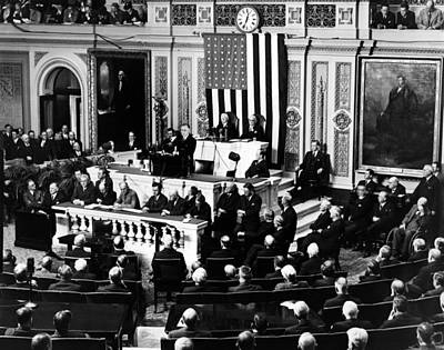 The New Deal Photograph - President Franklin Roosevelt Delivering by Everett