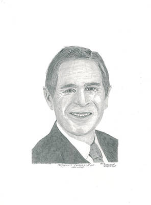 World Leader Drawing - President Geo. Bush by Bob and Carol Garrison