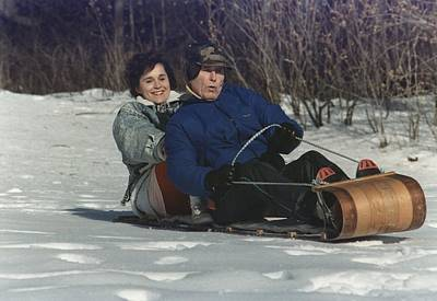 President George Bush Goes Sledding Art Print by Everett