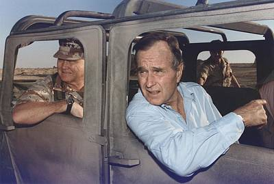 President George Bush Riding In An Art Print by Everett