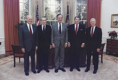 President George H.w. Bush With Former Art Print by Everett