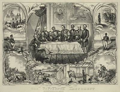President Grant With Group Of Men Art Print by Everett
