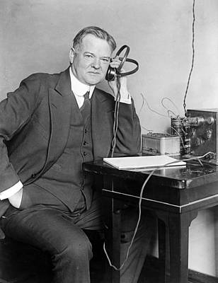 President Herbert Hoover Listens To The Radio Art Print