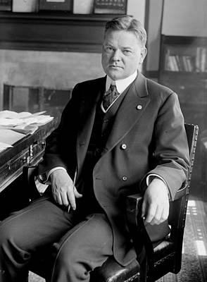 President Herbert Hoover Sitting At Desk Art Print