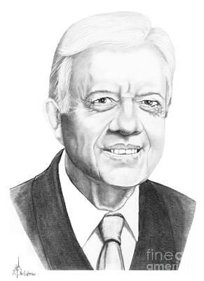 Carter Drawing - President Jimmy Carter by Murphy Elliott