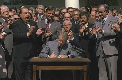 President Jimmy Carter Signing Public Art Print by Everett