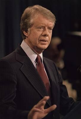 President Jimmy Carter Speaking Art Print by Everett