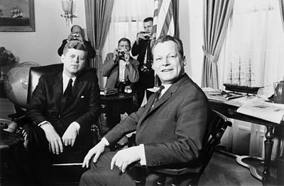 President John F. Kennedy And Mayor Print by Everett