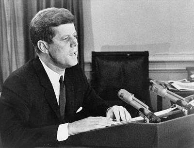 President John F. Kennedy Announcing Print by Everett