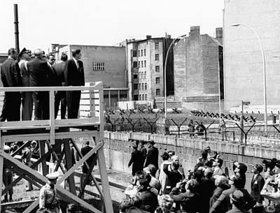 President John Kennedy In Berlin. On Print by Everett