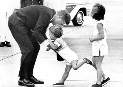 President John Kennedy Is Greeted Art Print
