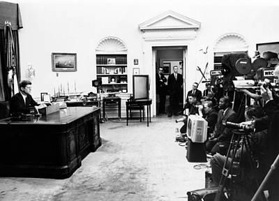 President John Kennedy Television Art Print