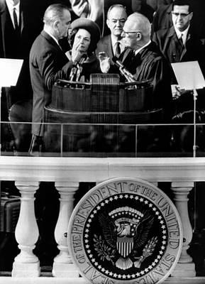 President Johnson Takes The Oath Art Print by Everett
