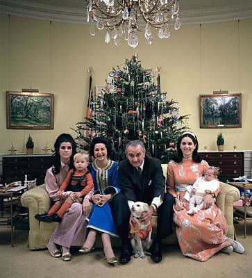 President Johnsons Family Celebrating Print by Everett