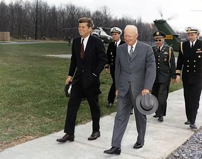 President Kennedy And Former President Print by Everett