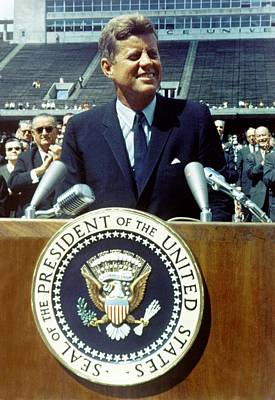 Cold War Era Photograph - President Kennedy Speaking At Rice by Everett