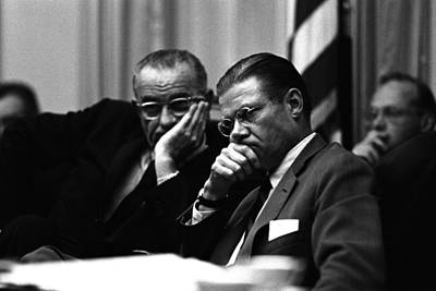 Lyndon Photograph - President Lyndon Johnson, And Robert by Everett
