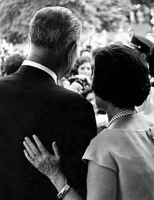 President Lyndon Johnson And Wife Lady Print by Everett