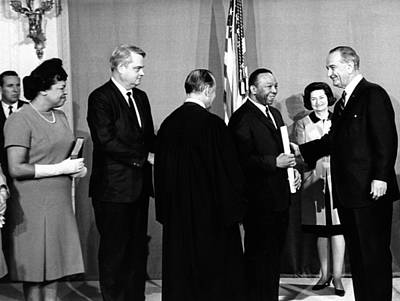 Lyndon Photograph - President Lyndon Johnson Congratulates by Everett