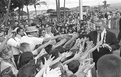 Lyndon Photograph - President Lyndon Johnson Greeted by Everett