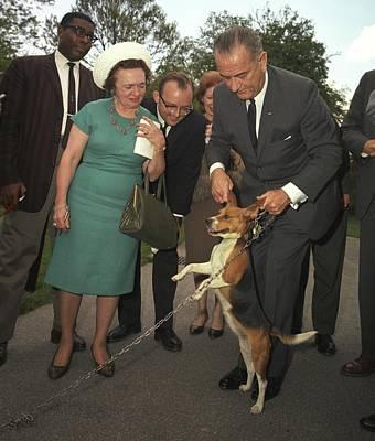 President Lyndon Johnson Holds Print by Everett