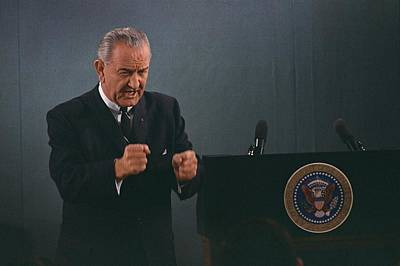 President Lyndon Johnson In An Emphatic Print by Everett
