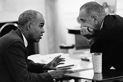 Lyndon Photograph - President Lyndon Johnson Listening by Everett