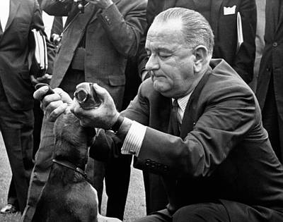 Lyndon Photograph - President Lyndon Johnson Pulls The Ears by Everett