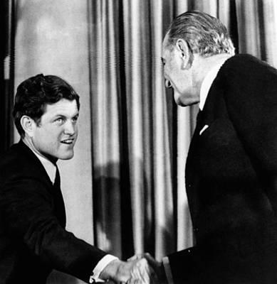 Lyndon Photograph - President Lyndon Johnson Shakes by Everett