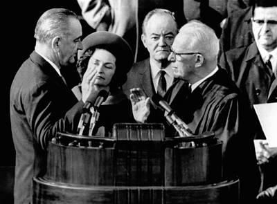 President Lyndon Johnson Takes The Oath Art Print by Everett