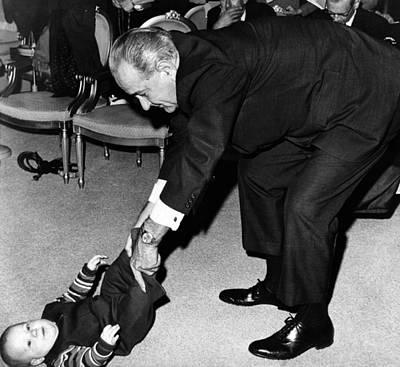 Nugent Photograph - President Lyndon Johnson Tugs The Legs by Everett