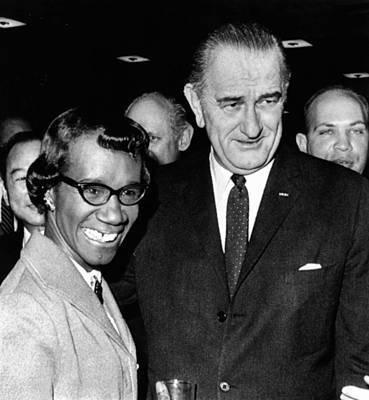 Lyndon Photograph - President Lyndon Johnson With Newly by Everett