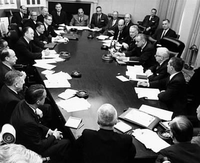 Lyndon Photograph - President Lyndon Johnsons Cabinet by Everett