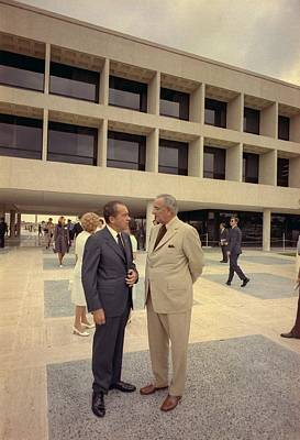 Lyndon Photograph - President Nixon Standing With Lyndon by Everett