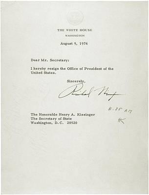 President Nixons Letter Of Resignation Art Print by Everett