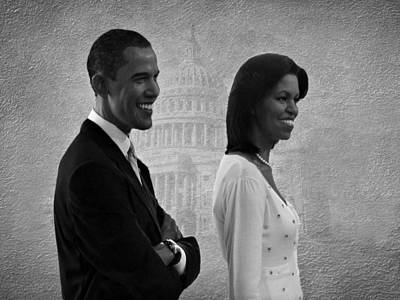 Politicians Royalty-Free and Rights-Managed Images - President Obama and First Lady BW by David Dehner