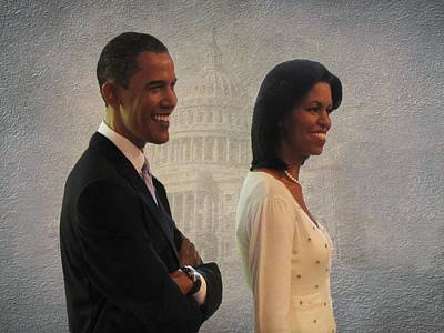 President Obama And First Lady Print by David Dehner