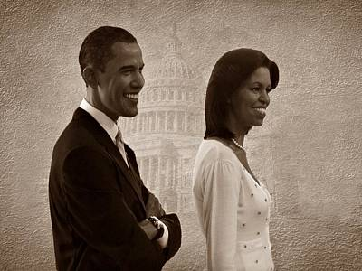 President Obama And First Lady S Art Print by David Dehner