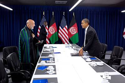 President Obama And President Hamid Art Print