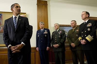 President Obama At The Pentagon Art Print by Everett